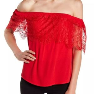 SOCIALITE Red lace overlay top